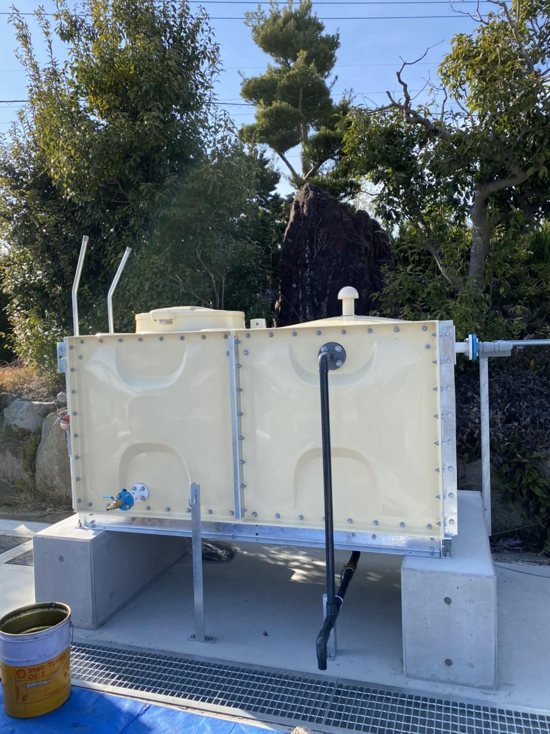 幸田某所 受水槽・配管・井戸にポンプを設置