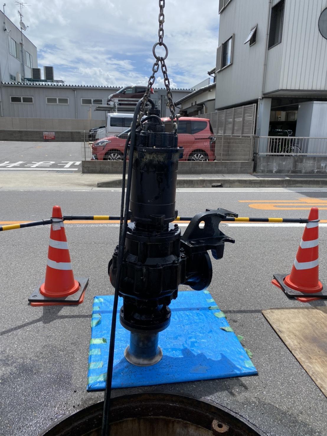 岡崎市某所 下水道設備(マンホールポンプ)の引き上げ点検
